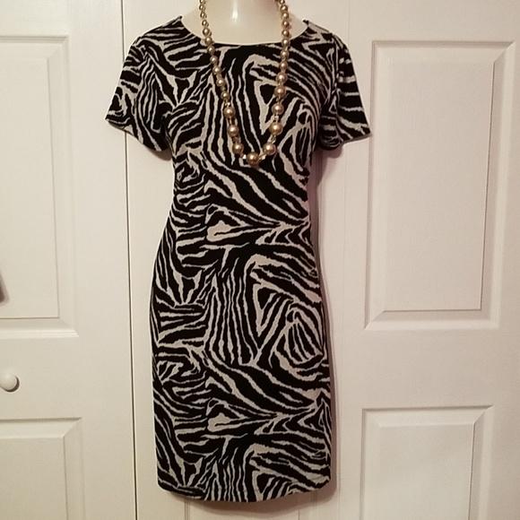 Cato retro Zebra knit wiggle dress plus size 16